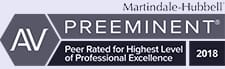 av preeminent Martindale Hubbell peer rated for highest level of professional excellence 2018